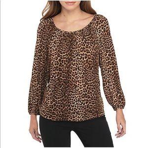 Michael Kors Petite Leopard Patterned Top size P M